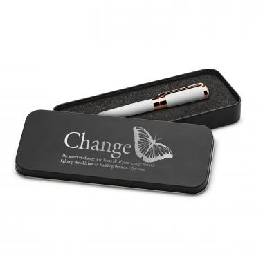 Change Butterfly Executive Rose Gold Pen Set & Case