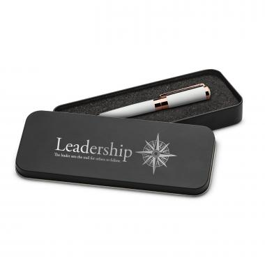 Leadership Compass Executive Rose Gold Pen Set & Case