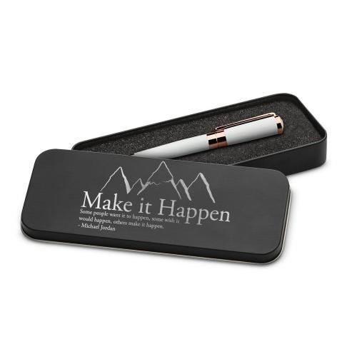 Make It Happen Mountain Executive Rose Gold Pen Set & Case