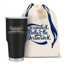 Vacuum Insulated - The Big Joe - Teamwork Dream Work 3D 30oz. Stainless Steel Tumbler