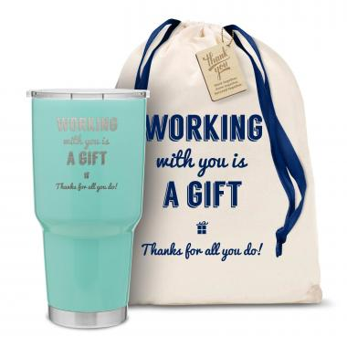 The Big Joe - Working With You is a Gift Thanks 30oz. Stainless Steel Tumbler