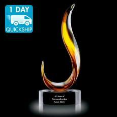 Quick Ship Awards - Quick Ship - Amber Blaze Art Glass Award