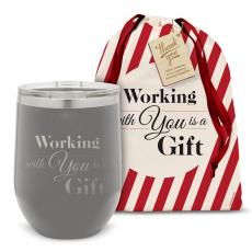 Drinkware - Working With You is a Gift Stainless Steel Wine Tumbler Holiday Gift Set