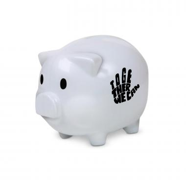 Together We Can Piggie Bank White