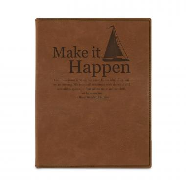 Make it Happen Sailboat Vegan Leather Padfolio