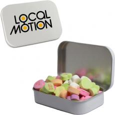 Health & Safety - White Mint Tin with Conversation Hearts - Valentines Day