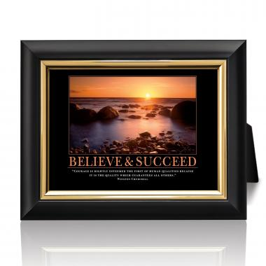 Believe & Succeed Sunset Desktop Print