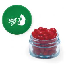 Candy, Food & Gifts - Twist Top Container Green Cap filled with Cinnamon Red Hots