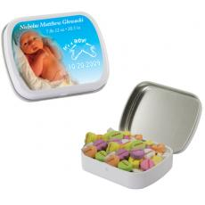 Candy, Food & Gifts - White Heart Mint Tin w/ Conversation Hearts - Valentines Day