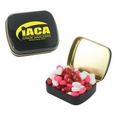Home & Family - Small Black Mint Tin with Candy Hearts