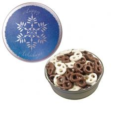Home & Family - The Grand Tin with Chocolate Covered Mini Pretzels-Snowflake