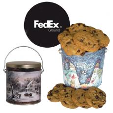 Home & Family - One Gallon Cookie Christmas Tin with Chocolate Chip