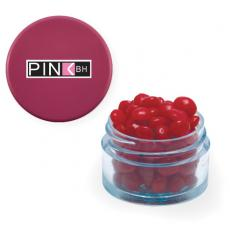 Office Supplies - Twist Top Container Pink Cap filled with Cinnamon Red Hots