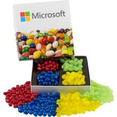 Drinkware - Square Custom Candy Box with Corporate Color Jelly Beans