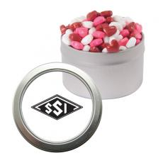 Candy, Food & Gifts - Silver Candy Window Tin with Candy Hearts