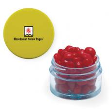 Sports & Outdoors - Twist Top Container Yellow Cap filled with Cinnamon Red Hots