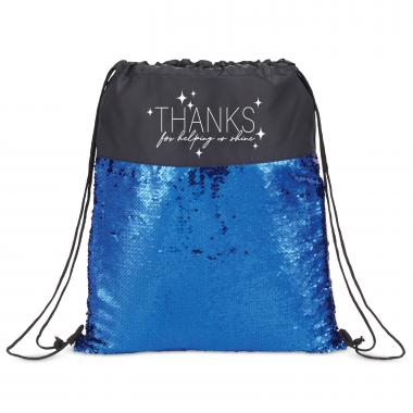 Thanks Reversible Sequin Drawstring Bag
