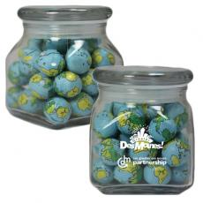 Candy, Food & Gifts - Apothecary Candy Jar with Chocolate Sports Balls - Glass Jar