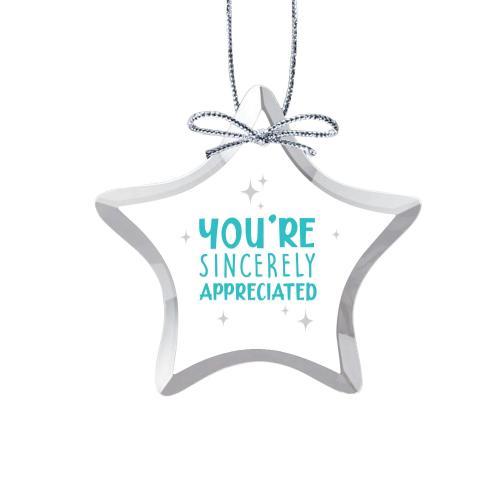Sincerely Appreciated Star Crystal Ornament