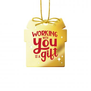 Working With You is a Gift Gold Metal Ornament