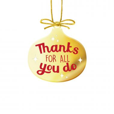 Thanks for All You Do Gold Metal Ornament
