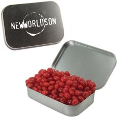 Candy, Food & Gifts - Large Silver Mint Tin with Cinnamon Red Hots
