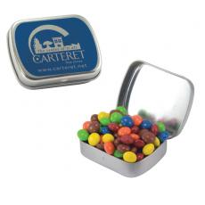 Candy, Food & Gifts - Small Silver Mint Tin with Chocolate Littles