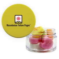 Candy, Food & Gifts - Twist Top Container Yellow Cap with Conversation Hearts