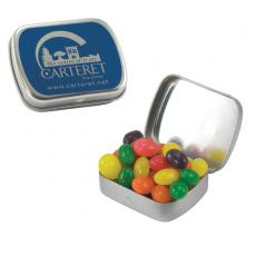 Candy, Food & Gifts - Small Silver Mint Tin with Jelly Beans
