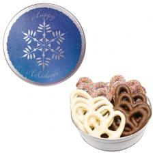 Candy, Food & Gifts - The Royal Pretzel Tin - Snowflake Design with Pretzels