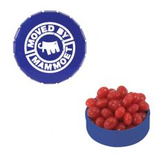 Office Supplies - Small Blue Snap-Top Mint Tin with Cinnamon Red Hots