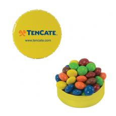 Candy, Food & Gifts - Small Yellow Snap-Top Mint Tin with Chocolate Littles