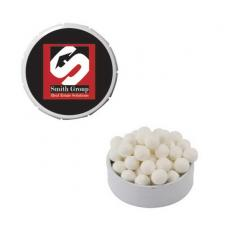 Candy, Food & Gifts - White Snap-Top Mint Tin with Breat Mints - Breath Fresheners