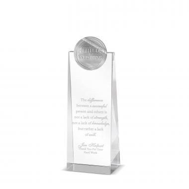 Attitude is Everything Tower Medallion Crystal Award
