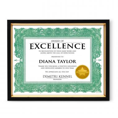 Ambition Wood Certificate Frame
