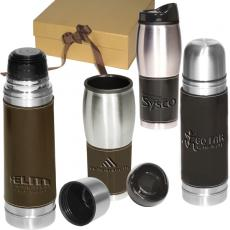 Pens, Pencils & Markers - Leeman New York Leather-Wrapped Thermos/Tumbler Set