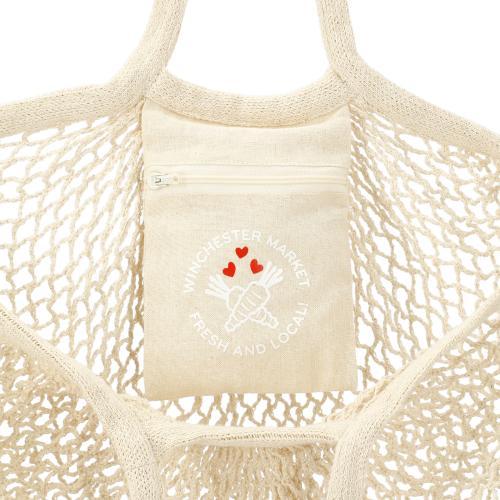 Riviera Cotton Mesh Market Bag w/Zippered Pouch