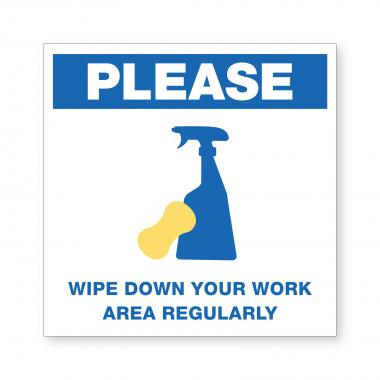 Wipe Down Regularly - Wall Sign