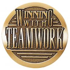 Winning with Teamwork Brass Medallion Corporate Gift
