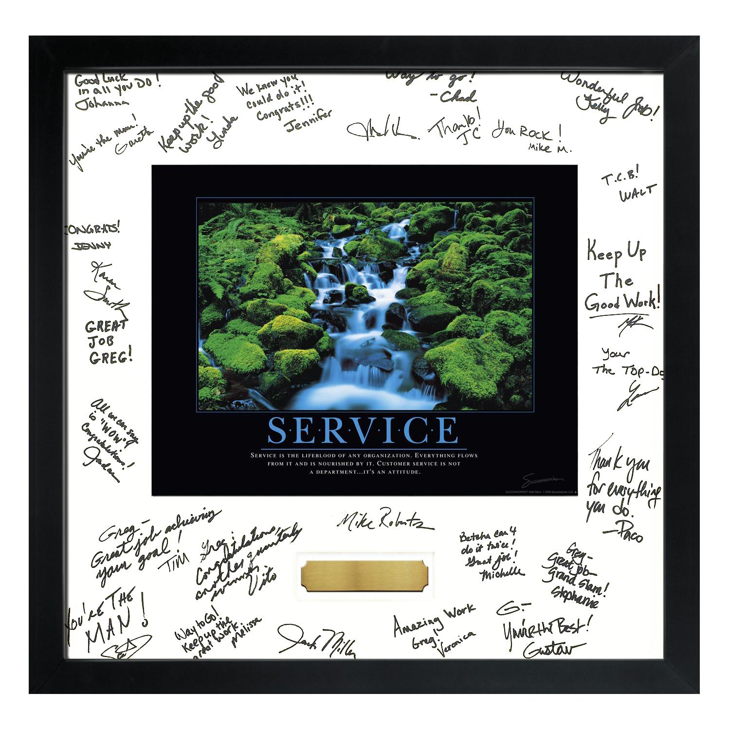 Service Waterfall Framed Signature Motivational Poster