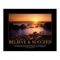 Believe & Succeed Sunset Motivational Poster