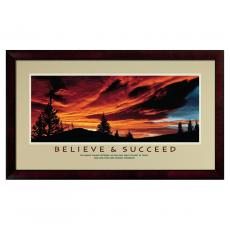 Believe & Succeed Sunset Framed Motivational Poster