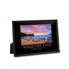Classic Motivational Prints - Walk The Talk Penguins Framed Desktop Print