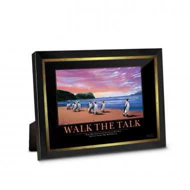 Walk The Talk Penguins Framed Desktop Print