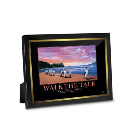 Walk The Talk Penguins Framed Desktop Print