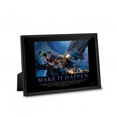 Classic Motivational Prints - Make It Happen Sailboat Framed Desktop Print
