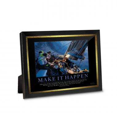 Make It Happen Sailboat Framed Desktop Print