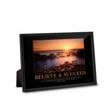 Classic Motivational Prints - Believe & Succeed Sunset Framed Desktop Print
