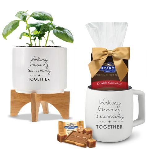 Holiday Gift Box - Modern Planter & Mug with Chocolate