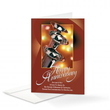 Happy Anniversary Trumpets Greeting Cards